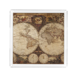 Vintage Map Acrylic Tray
