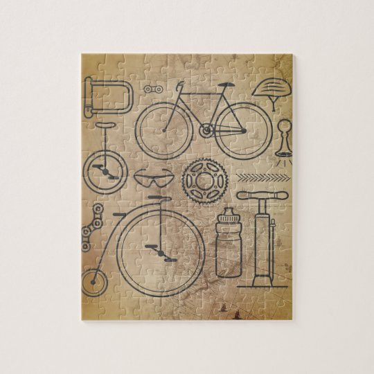 Vintage Map and Cycling Essentials Icons Jigsaw Puzzle
