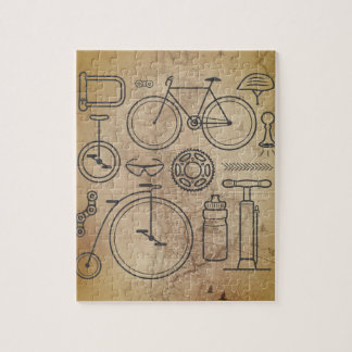 Vintage Map and Cycling Essentials Icons Puzzles