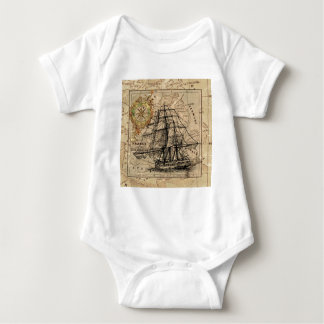 Vintage Map and Ship Baby Bodysuit