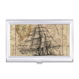 Vintage Map and Ship Business Card Holder