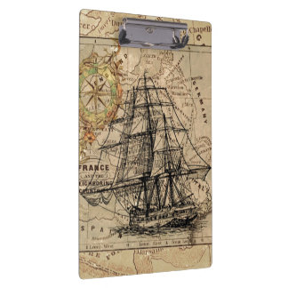 Vintage Map and Ship Clipboard
