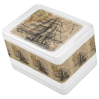 Vintage Map and Ship Cooler