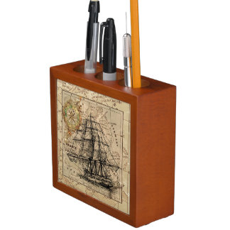 Vintage Map and Ship Desk Organiser
