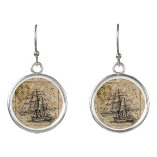 Vintage Map and Ship Earrings