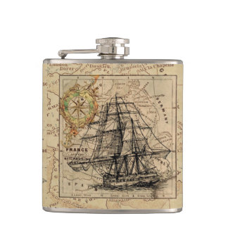 Vintage Map and Ship Hip Flask