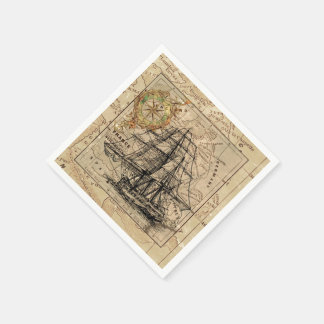 Vintage Map and Ship Paper Napkins