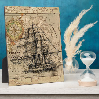 Vintage Map and Ship Plaque