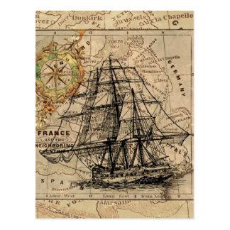 Vintage Map and Ship Postcard