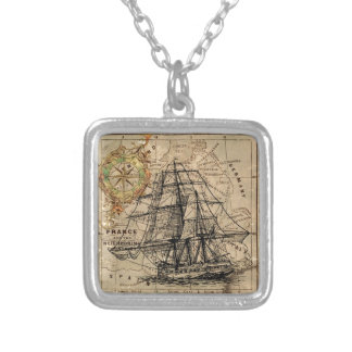 Vintage Map and Ship Silver Plated Necklace