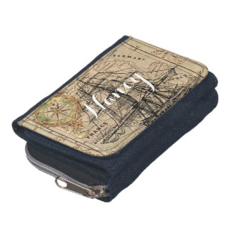Vintage Map and Ship Wallet