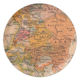 Vintage Map Central Europe Plate