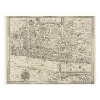 Vintage map city of London postcard