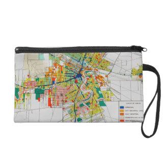vintage map clutch bag wristlet purse