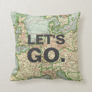 Vintage Map Europe Pillow, Custom Quote Cushion