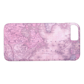Vintage map in pink iphone 7 case