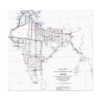 Vintage Map Index Chart Survey of India Canvas Print