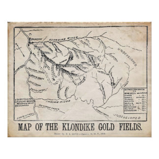 Vintage Map - Klondike - Dawson Gold Fields 1898 Poster