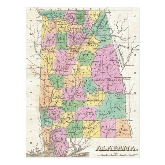 Vintage Map of Alabama (1827) Postcard