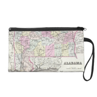 Vintage Map of Alabama (1855) Wristlet Purse
