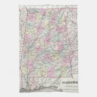 Vintage Map of Alabama (1855) Tea Towel