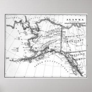 Vintage Map of Alaska (1883) BW Poster