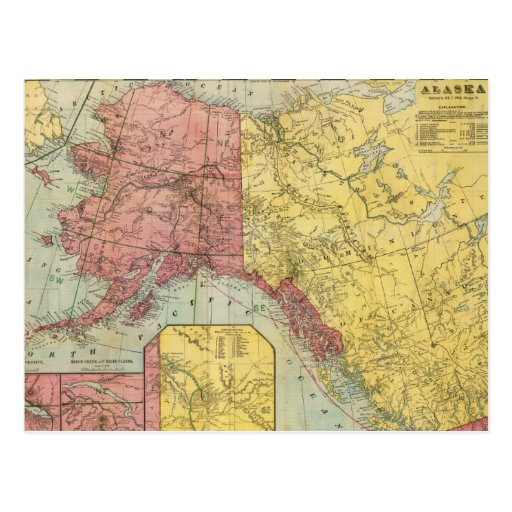Vintage Map of Alaska and Canada (1901) Postcards
