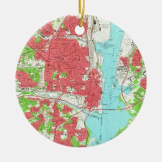 Vintage Map of Alexandria Virginia (1965) Ceramic Ornament