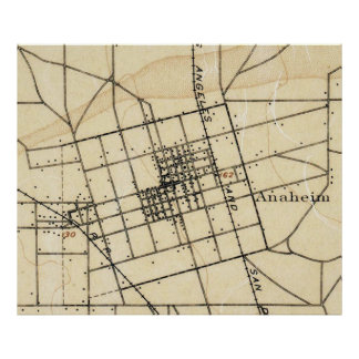 Vintage Map of Anaheim California (1894) Poster