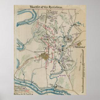 Vintage Map of Antietam Battlefield (1865) Poster