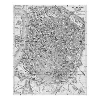 Vintage Map of Antwerp Belgium (1905) BW Poster