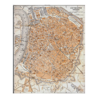 Vintage Map of Antwerp Belgium (1905) Poster