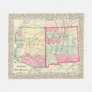 Vintage Map of Arizona and New Mexico (1867) Fleece Blanket