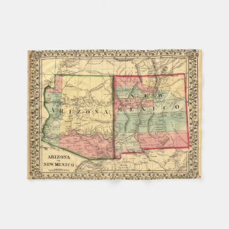 Vintage Map of Arizona and New Mexico Fleece Blanket