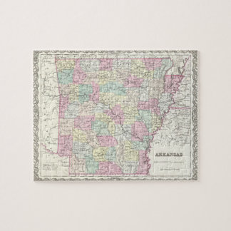 Vintage Map of Arkansas (1855) Jigsaw Puzzle