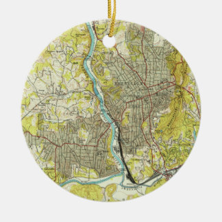 Vintage Map of Asheville North Carolina (1943) Ceramic Ornament