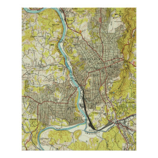 Vintage Map of Asheville North Carolina (1943) Poster