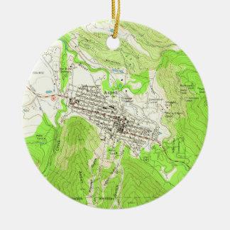Vintage Map of Aspen Colorado (1960) Ceramic Ornament