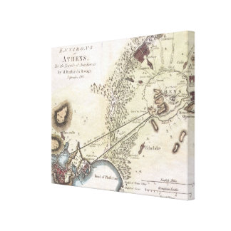 Vintage Map of Athens (1784) Canvas Prints