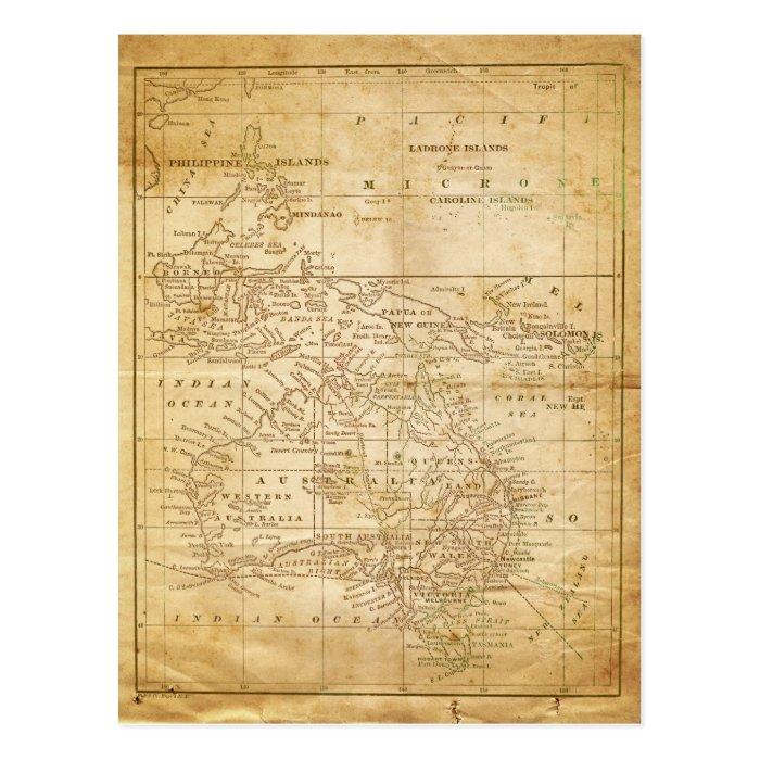 Vintage Map of Australasia Postcard