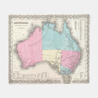 Vintage Map of Australia (1855) Fleece Blanket