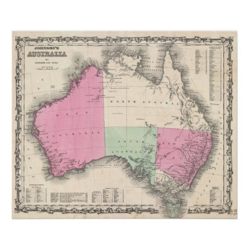 Vintage Map of Australia (1862) Print