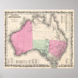 Vintage Map of Australia 1862 Print