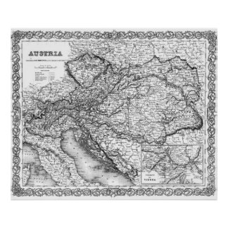 Vintage Map of Austria (1856) BW Poster