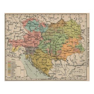 Vintage Map of Austria and Hungary (1911) Poster