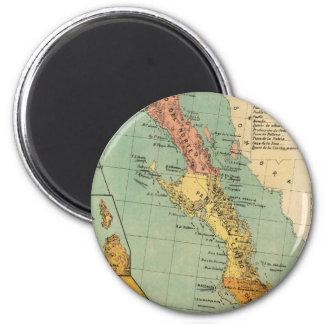 Vintage Map of Baja California (1899) 6 Cm Round Magnet