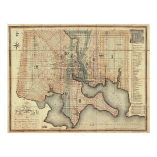 Vintage Map of Baltimore Maryland (1822) Poster