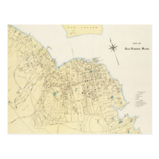 Vintage Map of Bar Harbor Maine (1897) Postcard