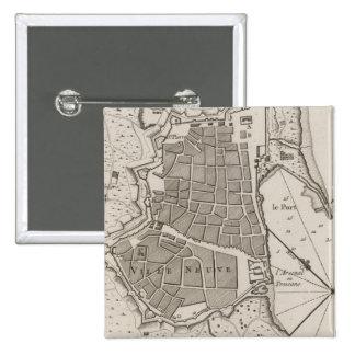Vintage Map of Barcelona Spain (1764) 15 Cm Square Badge