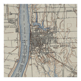 Vintage Map of Baton Rouge Louisiana (1906) Poster